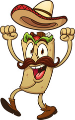 taco, Mexican, sombrero, mustache, boot, happy, excited, smiling, arms up, cartoon, vector, gradient, isolated, character, illustration