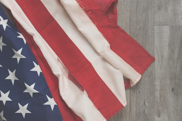 American Flag Flat Lay with Vintage and Tattered Flag