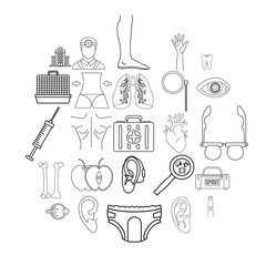 Treat icons set. Outline set of 25 treat vector icons for web isolated on white background