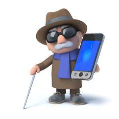 3d Blind man holding a smartphone