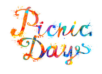 Picnic day. Hand written inscription of splash paint