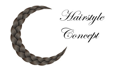 Vector Long Hair Braid Model Concept -  Isolated Brown Crescent Hairstyle Design