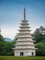Stone pagodas of Mireuksa Temple Site, Iksan-si, South Korea.