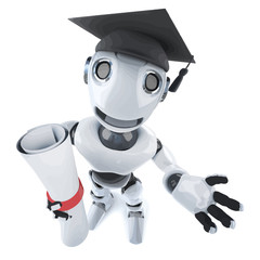 Vector 3d Funny cartoon robot character wearing a graduate mortar board and holding a diploma