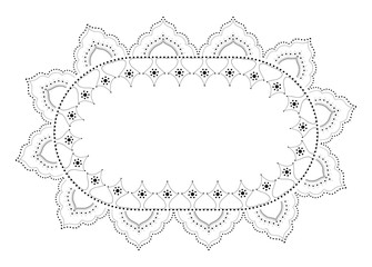 Indian Filigree Dotted Ornament - Vector Oval Floral Frame