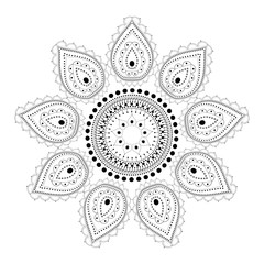 Indian Filigree Dotted Ornament - Vector Mehendi Pattern with Paisley