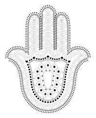 Muslim Filigree Dotted Ornament - Vector Hamsa Hand Symbol - Hand of Fatima