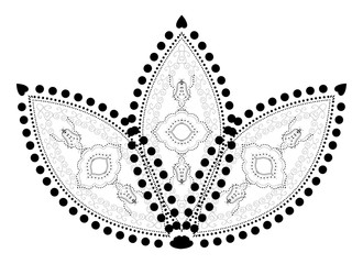 Indian Filigree Dotted Ornament - Vector Delicate Lotus Flower