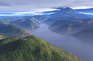 Peaceful Misty Mountain Lake - illustration
