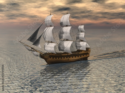 """Sailing Ship on a calm ocean - illustration"" Stock photo and royalty-free images on Fotolia.com - Pic 207350868"