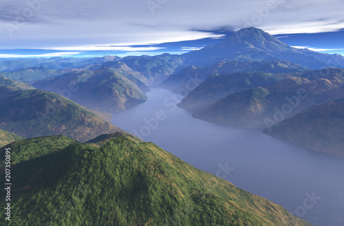 """Peaceful Misty Mountain Lake - illustration"" Stock photo and royalty-free images on Fotolia.com - Pic 207350895"