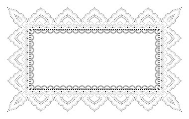 Indian Filigree Dotted Ornament - Vector Rectangulare Frame