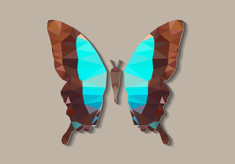 Polygonal Blue Butterfly Model - Vector Isolated Papercraft Icon