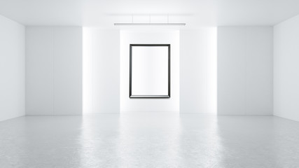 3D rendering empty rendering picture frame with minimalist and modern design studio room space background, high key lighting .