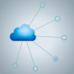 Cloud computing and networking design concept.The background is gray.