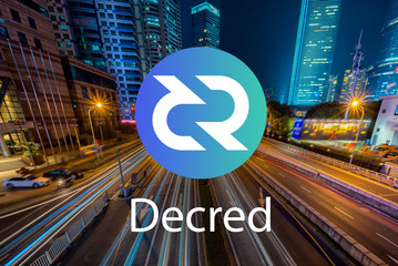 Concept of Decred Coin or DCR, a Cryptocurrency blockchain platform , Digital money, Cityscape background