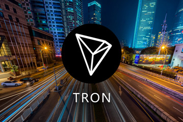 Concept of TRON Coin or TRX, a Cryptocurrency blockchain platform , Digital money, Cityscape background