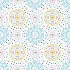 Pastel mandala flower and Thai style seamless vector pattern on white background