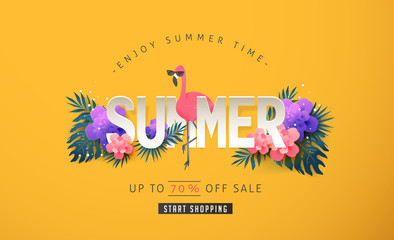Summer sale background layout banners decorate with paper art tropical leaf and flamingo .voucher discount.Vector illustration template.