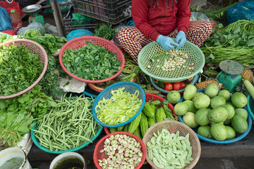 Vegetables for sale at outdoor market in Hoi An, Vietnam