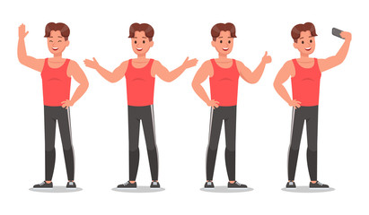 Fitness man doing exercise character vector design. Healthy lifestyle no3