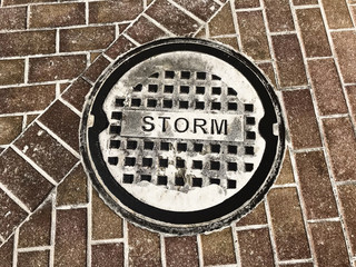Storm Drainage in Pavers.Photo image