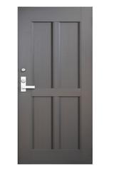 Black wood door isolated on white background