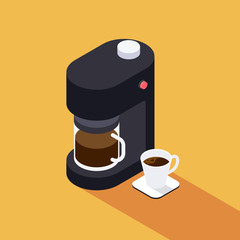 Coffee maker machine with coffee cup isometric view flat design