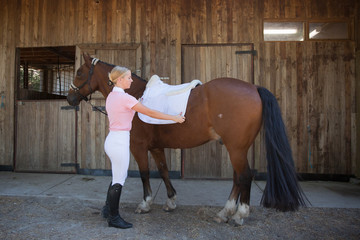 Putting Saddle Blanket on the Horse