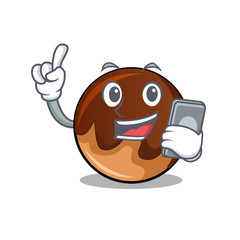 With phone chocolate donut character cartoon