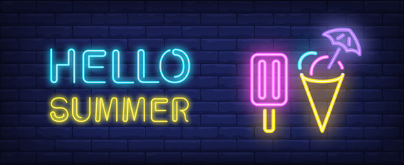 Hello summer neon style lettering. Choc ice and cone icecream on brick background. Ice-cream truck, cafe, ice-cream shop. Bright wall sign. Can be used for topics like dessert, vacation, summer