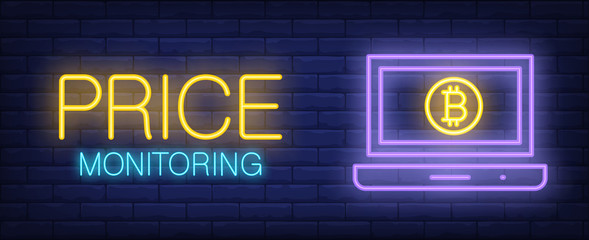 Price monitoring vector illustration in neon style. Text, computer screen and bitcoin on brick wall background. Night bright advertising design. Financial management and electronic currency concept