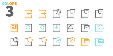 Tablet UI Pixel Perfect Well-crafted Vector Thin Line Icons 48x48 Ready for 24x24 Grid for Web Graphics and Apps with Editable Stroke. Simple Minimal Pictogram Part 2-3