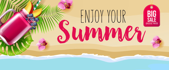 Big sale enjoy your summer banner design with pink flowers, mug of berry smoothie, ocean and beach. Calligraphic text can be used for signs, labels, flyers, posters