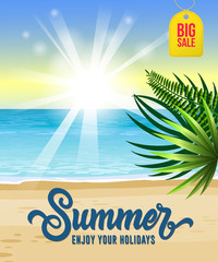 Summer, enjoy your holidays, big sale flyer design with sea, tropical beach, sunrise and palm leaves. Calligraphic text can be used for greetings, posters, signs, banners.