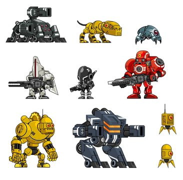 Collection of various robot illustration