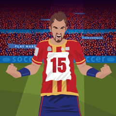 Furious soccer or football player standing on stadium field and angry with the lose, front side view, spectator area on background. Realistic style
