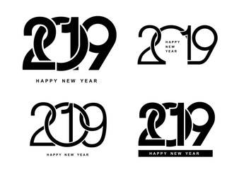 Happy New Year. Set of 2019 text design pattern. Vector illustration. Isolated on white background