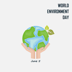 Hand and Green Leaves sign.World Environment day concept vector logo design template.June 5st World Environment day concept.World Environment day Idea Campaign.