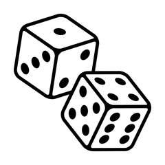 Pair of dice to gamble or gambling in craps line art vector icon for casino apps and websites