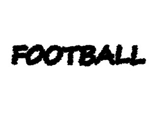 Black color text football isolated on white background