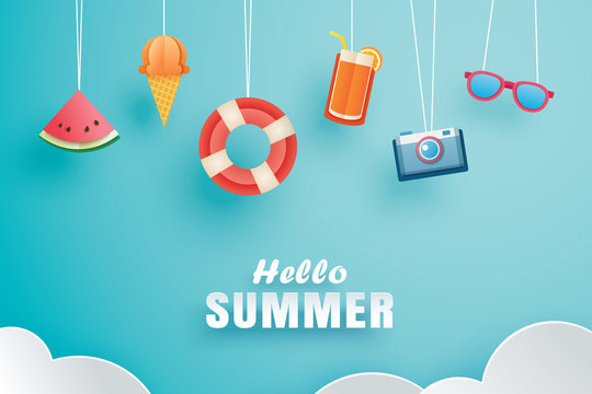 Hello summer with decoration origami hanging on the sky background. Paper art and craft style. Vector illustration of life ring, ice cream, camera, watermelon, sunglass, orange juice.