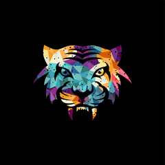 intimidating tiger front view theme logo template