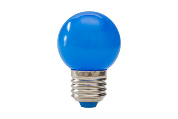 Blue light bulb isolated on white background