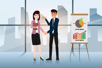 Business men and women are shaking hands to congratulate them for being a business partner. Successful business negotiations. Closed deal handshake vector illustration.