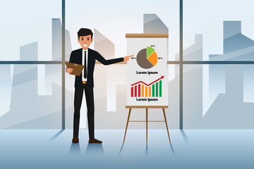 Businessman in suit and tie making presentation explaining charts on a white board. Business seminar. Character cartoon vector illustration.