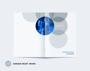 Abstract double-page brochure design round style with colourful circles for branding. Business vector partnership collaboration