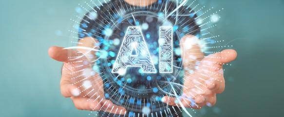 Businessman using digital artificial intelligence icon hologram 3D rendering