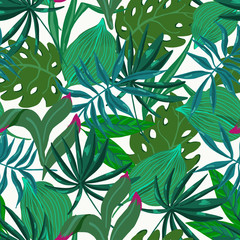 Vector summer natural vintage exotic seamless pattern with tropical leaves, Botanical illustration