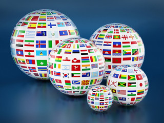 Country flags around the globes on blue background. 3D illustration